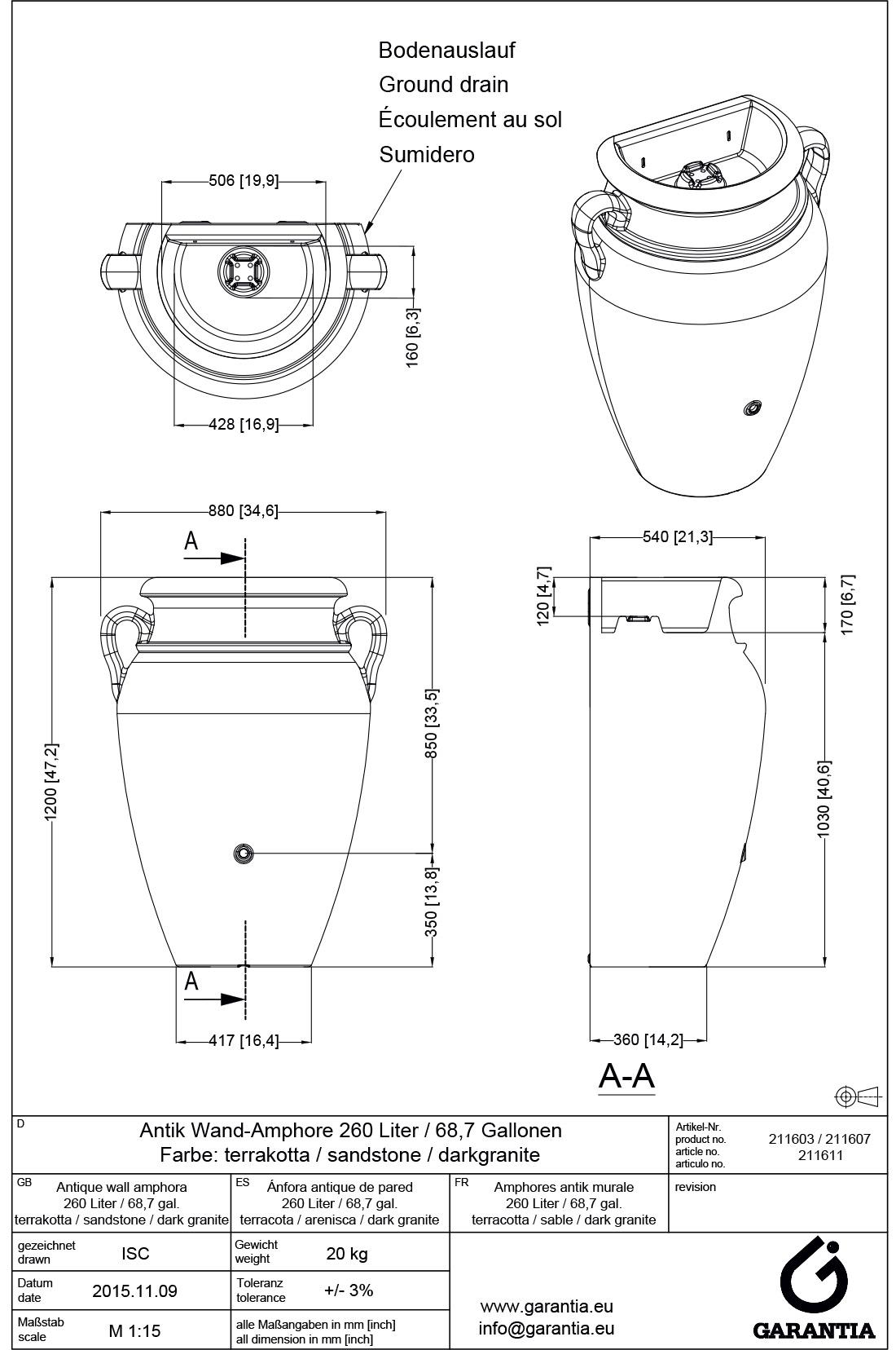 Встановка та розміри декоративної ємності для збору води Грецька амфора