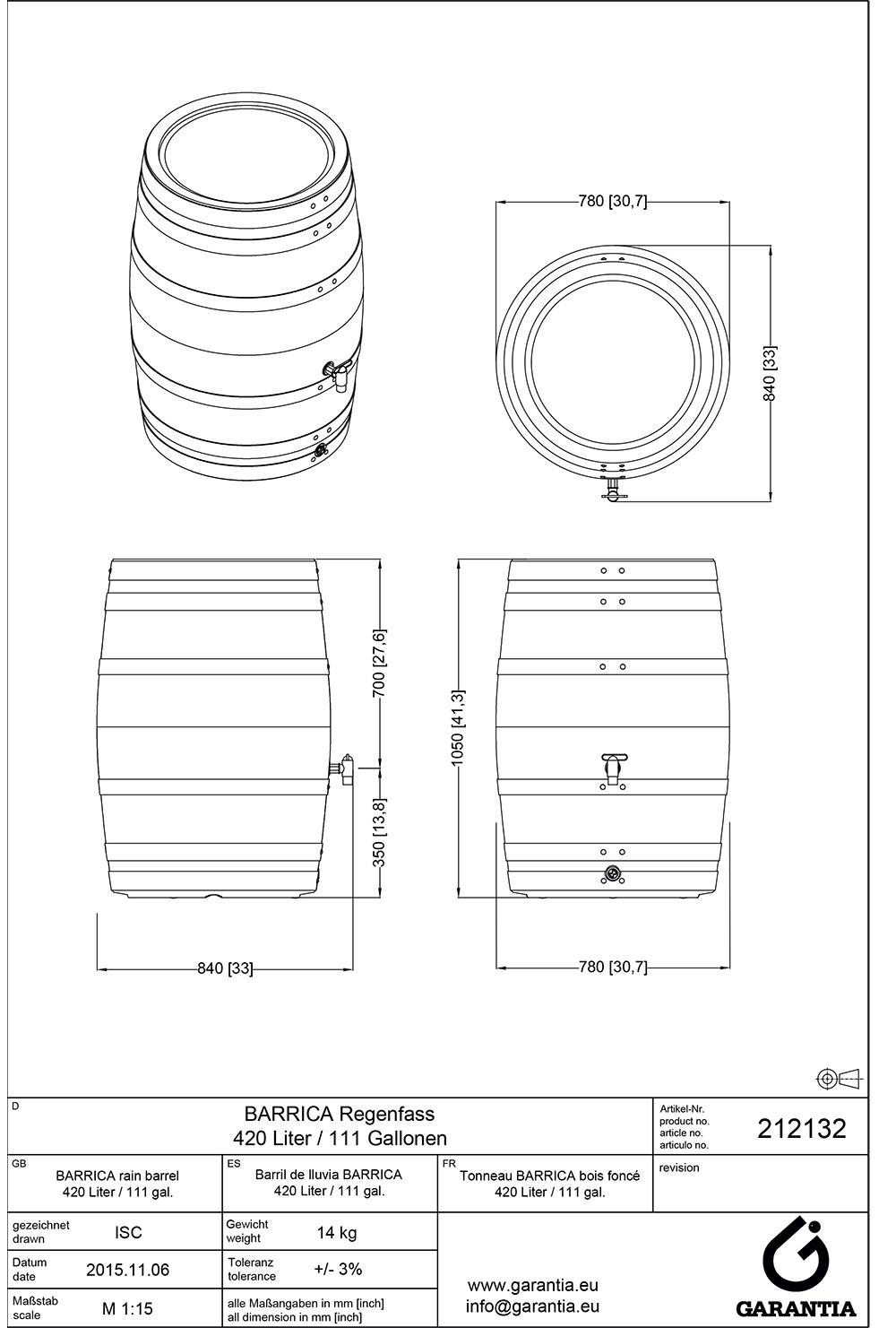 Установка декоративної ємності для збору води Barica, розміри