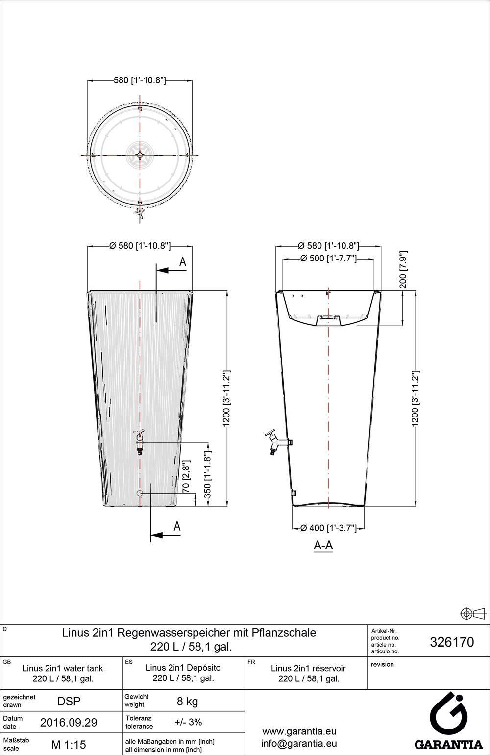 Установка декоративной емкости для сбора воды Linus 2in1, размеры
