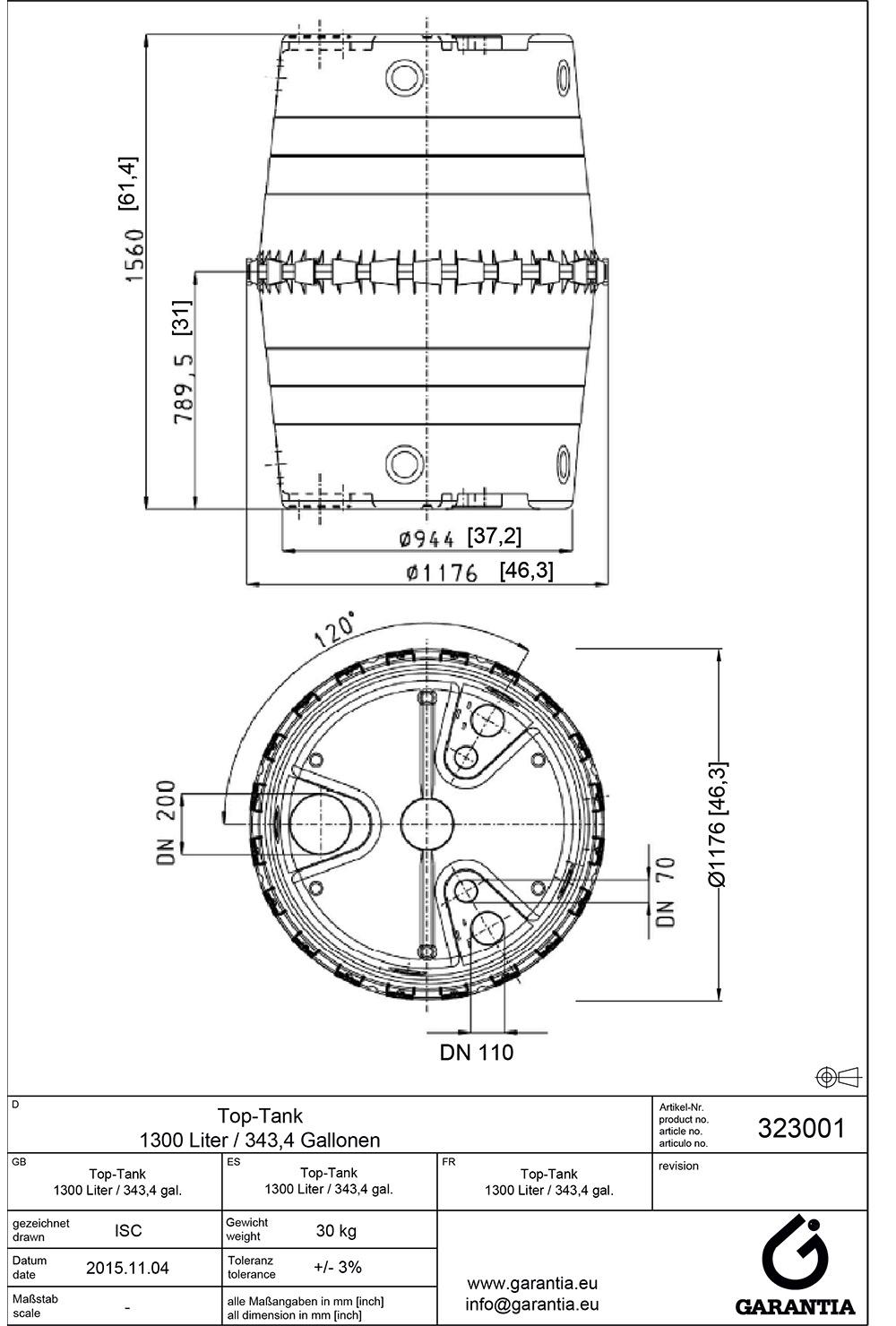 Інструкція по збірці ємності 1300 л, розміри